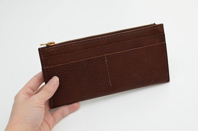 bd8840cb9087f9 Pebbled Brown Slim Leather Wallet Slim Wallet Women's   Etsy