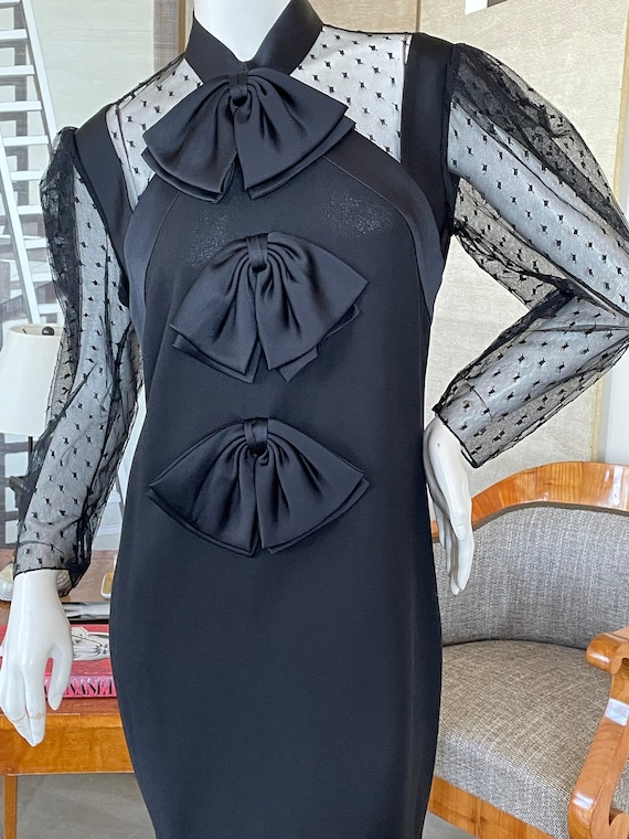 Givenchy Sheer Swiss Dot Dress with Bows