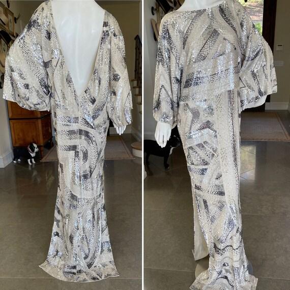 Emilio Pucci Sequin Kimono Style Evening Dress wit