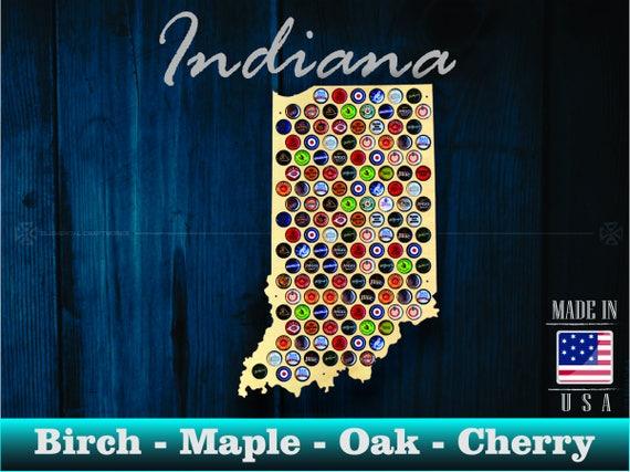 Indiana Beer Cap Map IN Beer Cap Holder Beer Cap Display - Indiana beer cap map