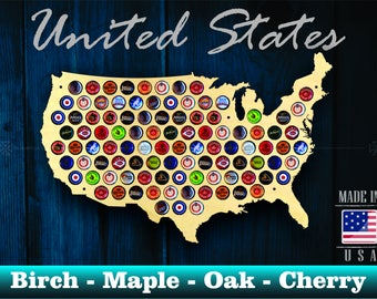 United States Beer Cap Map USA - Beer Cap Holder Beer Cap Display Gift for Him Wedding Gift Fathers Day Unique Christmas Gift