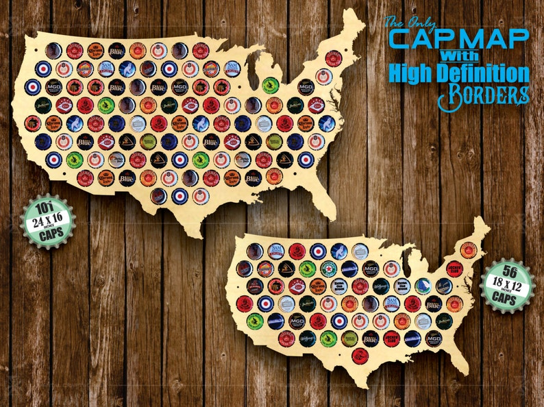 Beer Cap Holder Beer Cap Display Gift for Him Wedding Gift Fathers Day Unique Christmas Gift United States Beer Cap Map USA