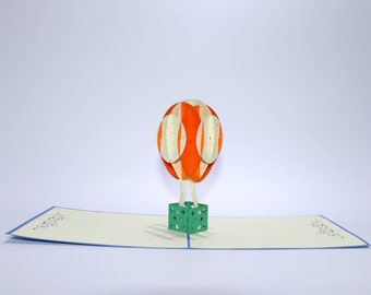 Hot Air Balloon Orange - Unique, handcrafted Popwish Pop-Up Greeting Card or Invitation Card ideal for Adventurer, Traveler & every Occasion