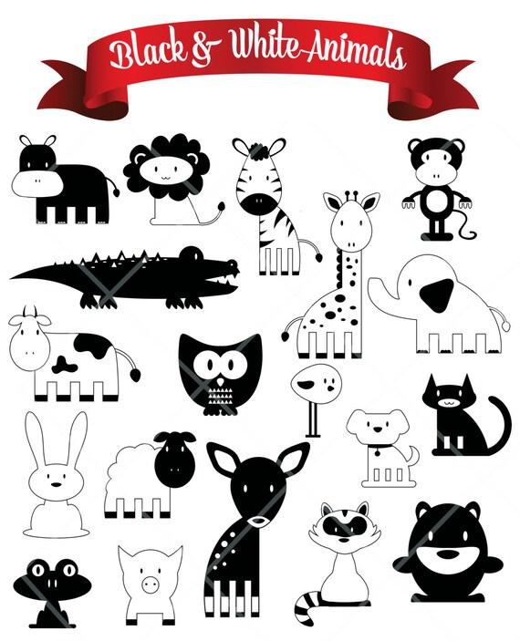 Dibujos Blanco Negro Dibujado A Mano Animales Digital Clip Art Etsy