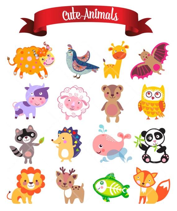 Susse Lustige Tiere Digital ClipArt Kinderzimmer Decor Baby