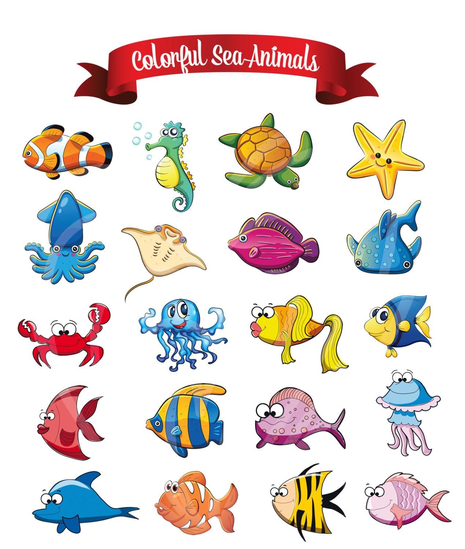 Lindo mar divertido pescar animales Digital Clip Art Nursery | Etsy