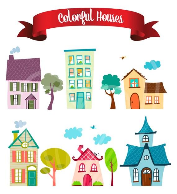 Colores dibujos animados casas cocina Casa Decor Digital Clip   Etsy