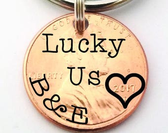 Penny Keychain - Lucky Penny - Lucky Us Penny - Stamped Jewelry - Custom Penny - Gift for Boyfriend - Anniversary Gift - Gift for Men