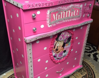 dresser for kids room drawer pulls minnie mouse room decor minnie mouse furniture pink dresser kids birthday kids dressers drawers etsy