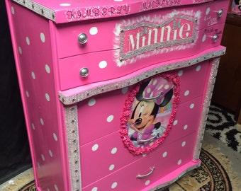 Minnie Mouse Room Decor   Minnie Mouse   Minnie Mouse Furniture   Pink  Dresser   Kids Birthday   Minnie Mouse   Kids Furniture   Kids Room