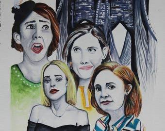 Girls HBO-- Girlfriends -- Watercolor Painting -- Giclee Art Prints