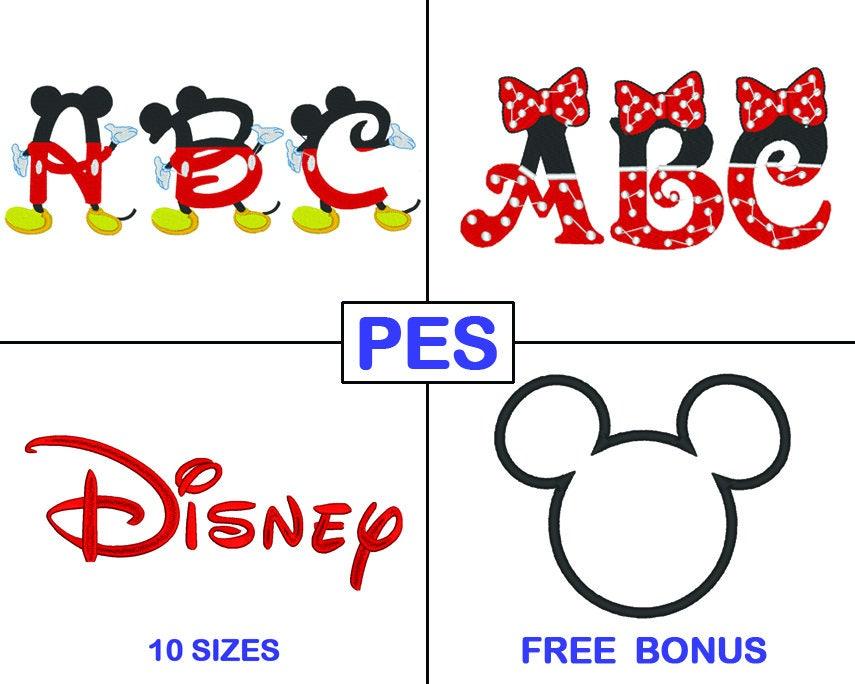 Disney bordado paquete de fuentes 3 fuentes PES Mickey | Etsy