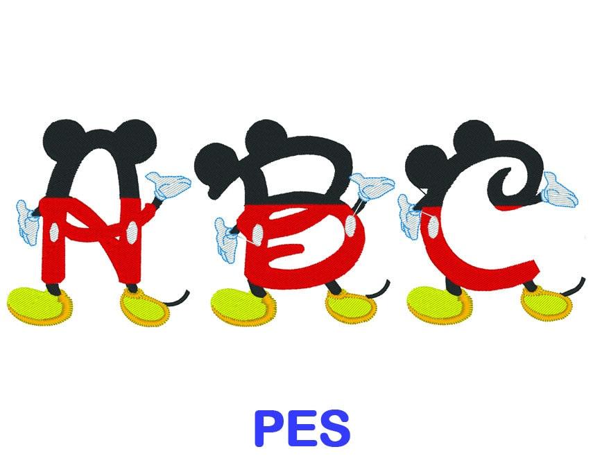 Letra de bordado de Mickey Mouse Disney PES formato | Etsy