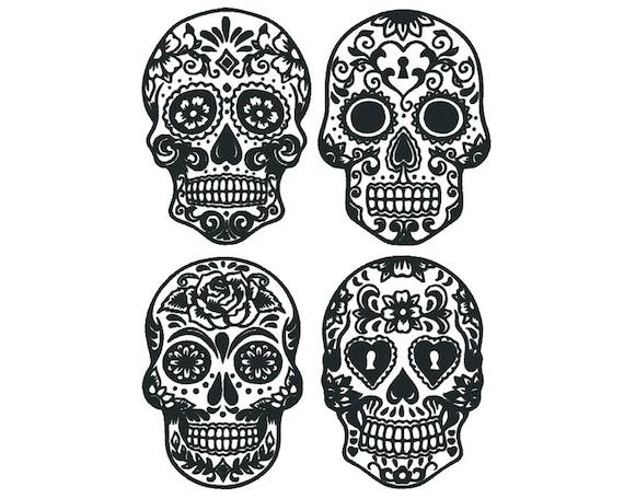 sugar skull machine embroidery design set 2 sizes 8 etsy