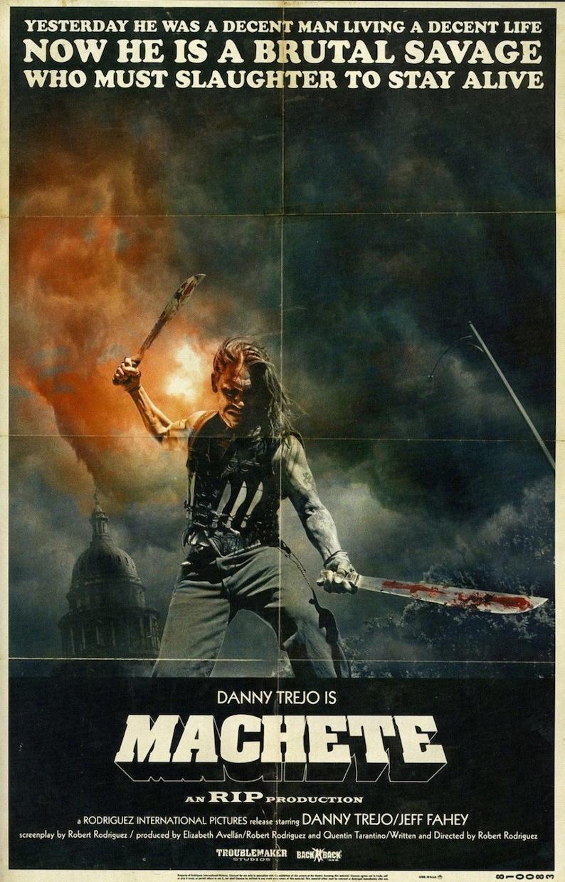 Machete Movie Poster Horror Grindhouse Danny Trejo Etsy