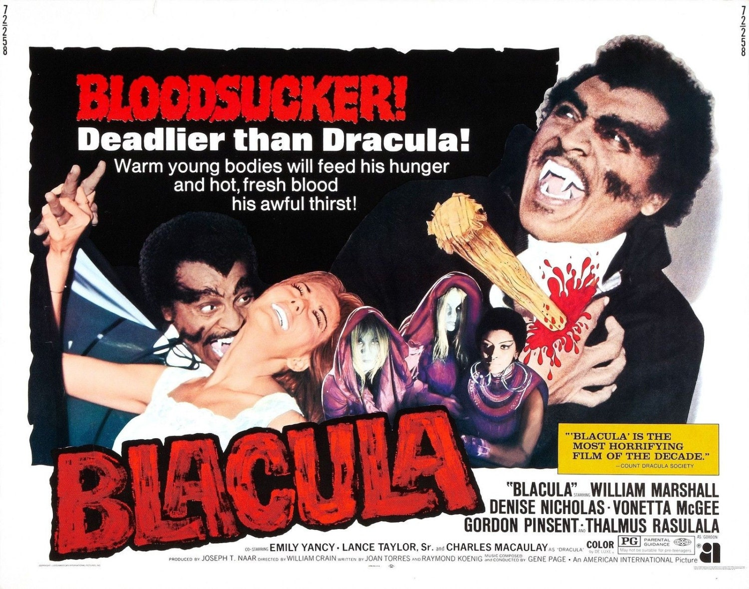 BLACULA Movie Poster Blaxploitation Horror Grindhouse | Etsy