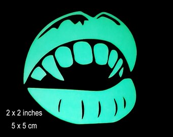Vampire Mouth & Fangs Glow in the Dark Decal / Sticker - Macbooks, iPhones, Android, Laptops, Windows
