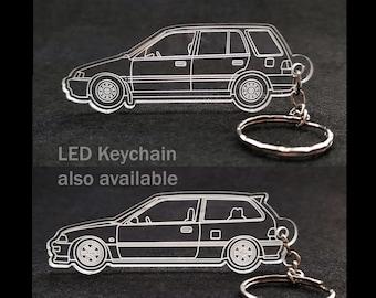 Honda EF Civic Hatchback or Wagon Acrylic Laser Cut Keychain