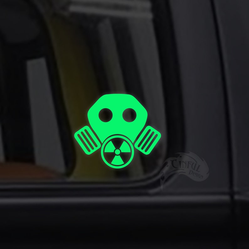 Gas Mask Radioactive Glow in the Dark Decal / Sticker  image 0