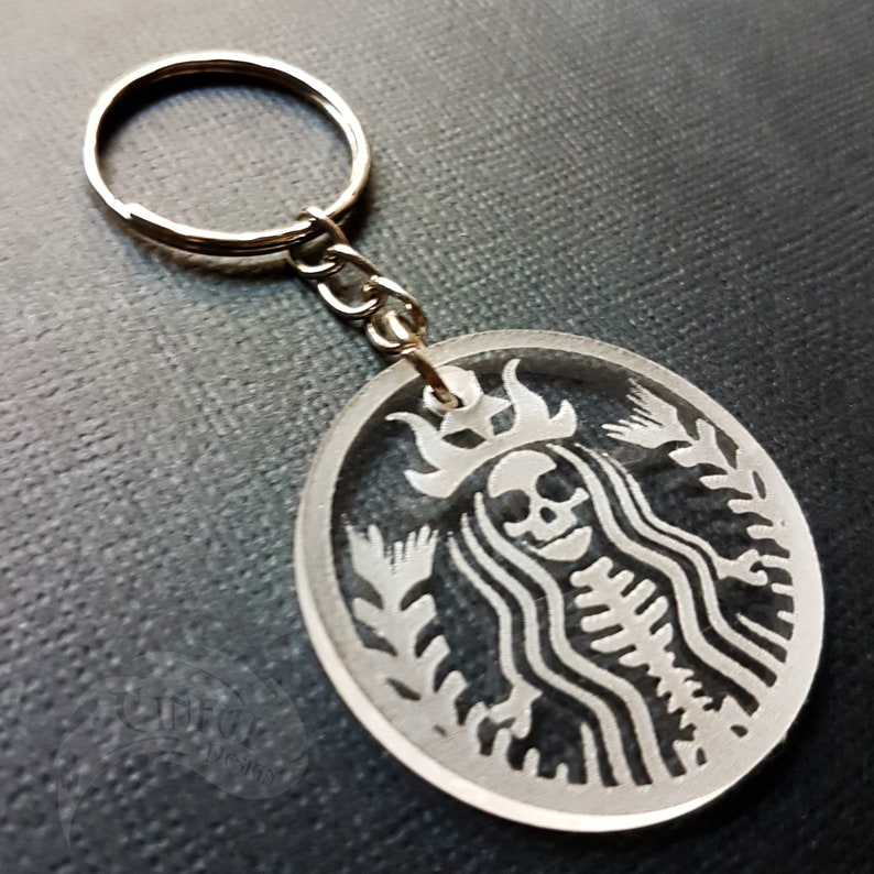Seconds  Mermaid Skeleton Laser Cut Keychain image 0