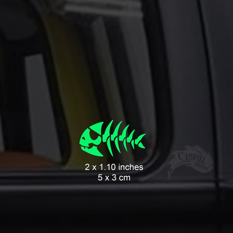 Pirate Fish Skeleton Bone Glow in the Dark Decal / Sticker  image 0