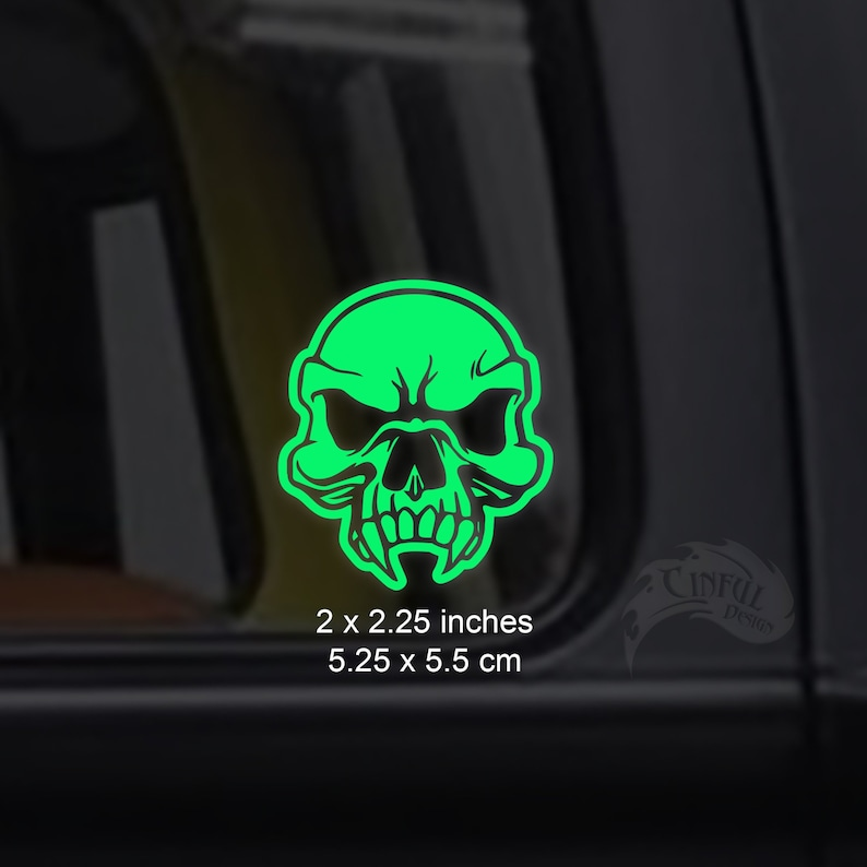 Human Vampire Zombie Skull Glow in the Dark Decal / Sticker  image 0