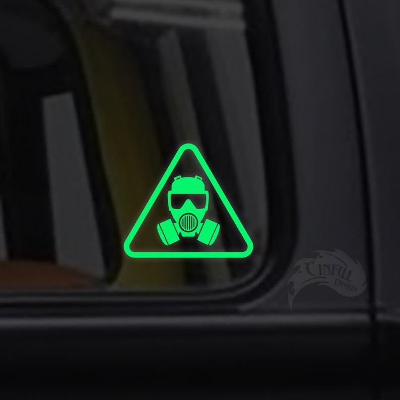 Gas Mask Warning Decal / Sticker  Macbook iPad Tablet Car image 0