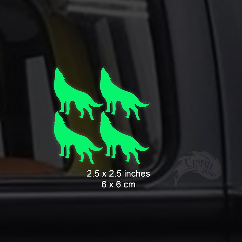 4 Howling Wolves  2.25 x 2.25 Inch   Glow in the Dark Decal image 0