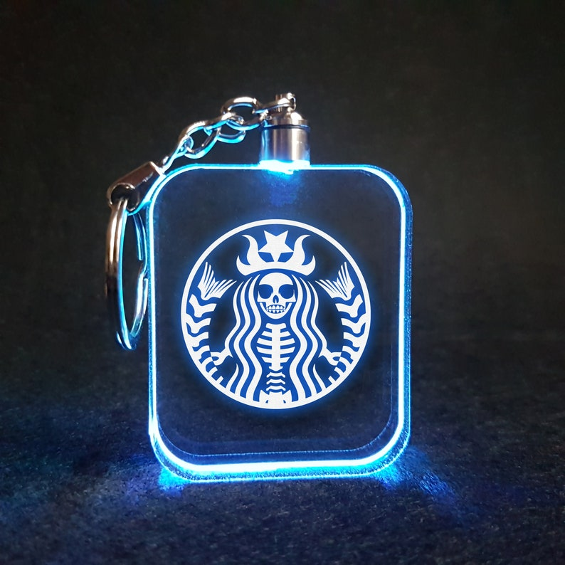 Mermaid Skeleton Coffee 7 Flashing RBG LED Lamp / Light Laser image 0