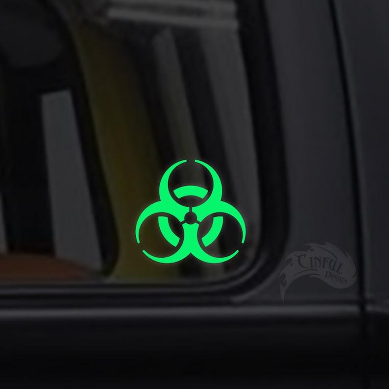 Biohazard Glow in the Dark Decal / Sticker  Macbooks image 0