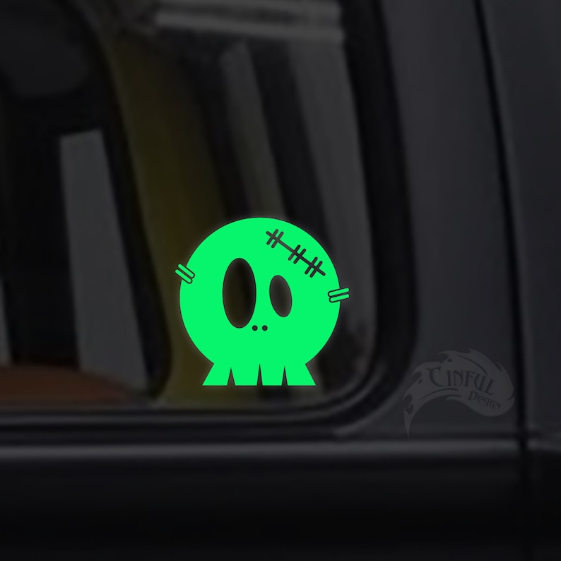 Cute Little Skull Glow in the Dark Decal / Sticker  Kawaii  image 0