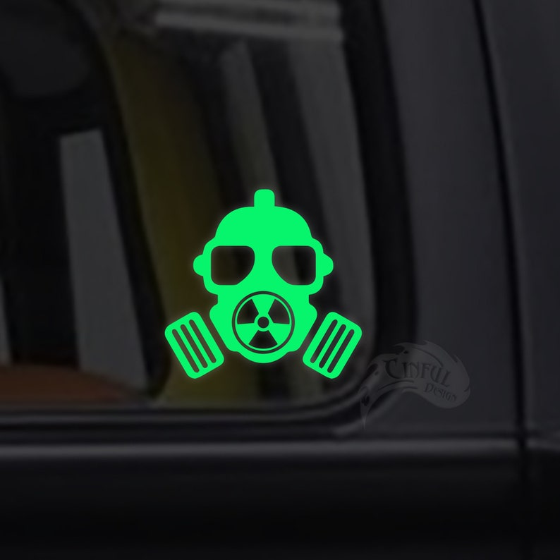 Gas Mask Radioactive Decal / Sticker  Macbook iPad Tablet image 0