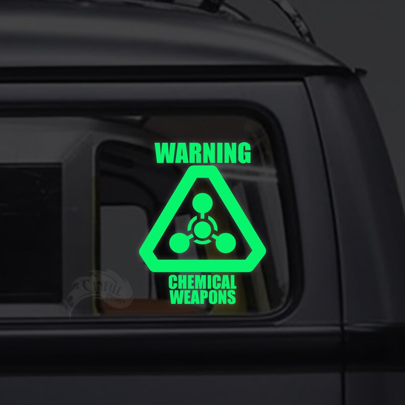 Warning Chemical Weapons  Glow in the Dark Decal / Sticker  image 0
