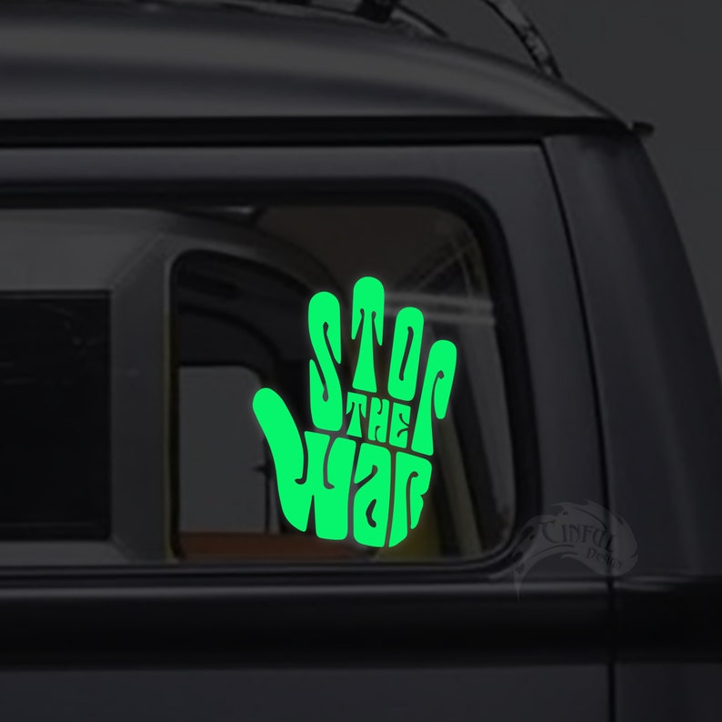 Stop the War Typography Hand   Glow in the Dark Decal / image 0