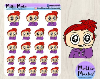 THINKING PLOTTING CHIBI Emotions Kawaii Hand Drawn Mood Tracker Planner Stickers for Erin Condren, Happy Planner, Plum Paper, Kikki K