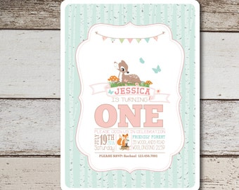 Woodlands First Birthday Invitation Printable, Forest, Woodland Girl First birthday, Cute Baby Girl Invitation. 1st Birthday Invitation.