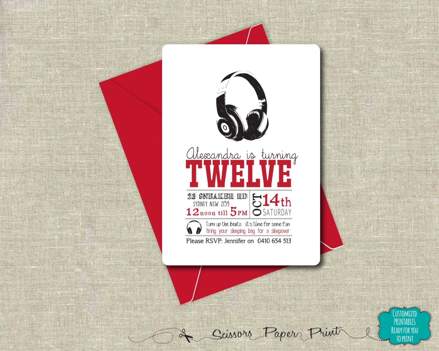 DJ Headphones Party Invitation Printable customised | Etsy