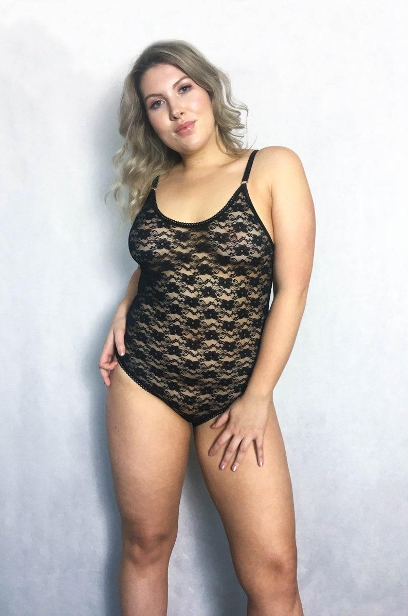 82a01495a736f Plus Size Lingerie Teddy Sexy Black Lace Bodysuit Vintage