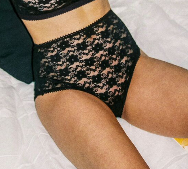 f5540ebe0d81 Black Lace Panties See Through Lingerie High Waist | Etsy