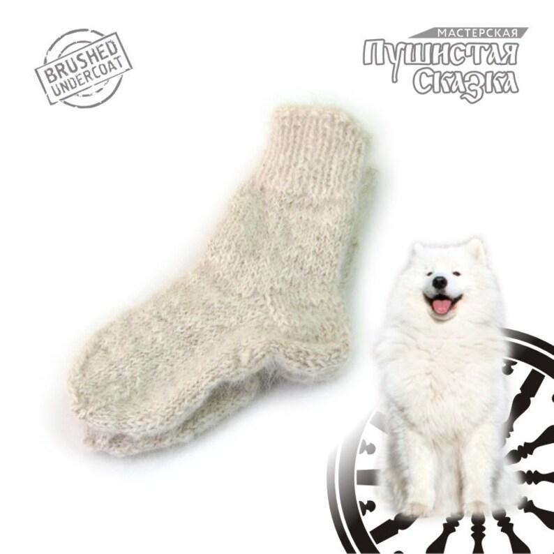 e69b4eafc772 13 cm    Socks from dog wool The Samoyed Hand Knitted Hand