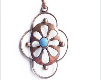 70's Rose Gold and Turquoise Pendant