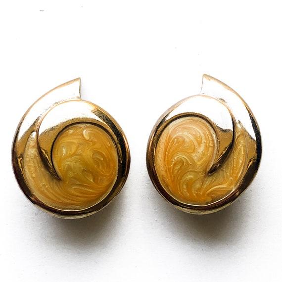 80's Monet Orange Enamel Clip On Earrings