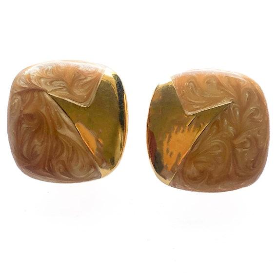 80's Monet Orange Swirl Enamel Clip On Earrings