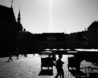 SALE! TALLINN TOWN Hall Square, Black & White Photographic Print in Mount, Estonia, Europe, Travel Photography, medieval, cobbled streets