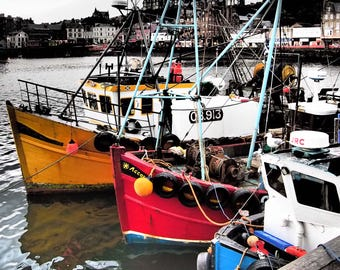 OBAN HARBOUR Fishing Boats Photographic Print in Mount - with high contrast highlights, red, harbour, Scotland, fishing boats, seascape