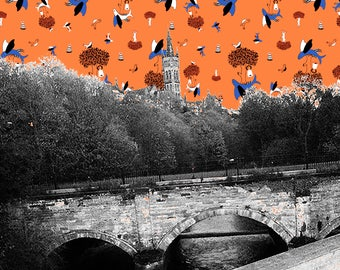 Glasgow GLUE Pattern-Bomb Print featuring Glasgow University Tower with a vibrant Glasgow Crest/Coat of Arms pattern in orange & blue