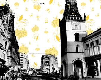 Glasgow TRONGATE Clock Tower Black & White Photograph featuring a YELLOW repeating pattern of the Glasgow Crest/Coat of Arms