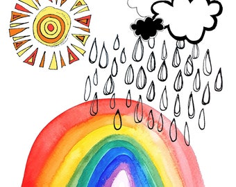 The Physics of a RAINBOW illustration & watercolour print featuring handdrawn raindrops, clouds and sunshine with hand-stamped wording