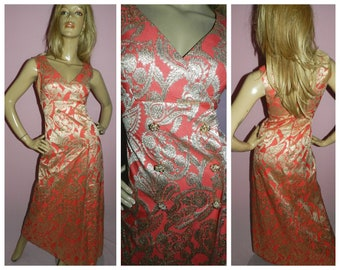 6467214fc188 Vintage 70s Orange Gold Brocade maxi dress 8-10 S 1970s Evening Starlet  Hollywood glamour party