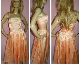 314259aa957f3 Vintage 80s Peach PRINCESS Strapless Prom Party dress 6UK 2Us Xs Xxs 1980s  Extreme Kitsch WEDDING BRIDE Bridesmaid Hen